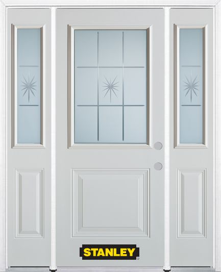 64-inch x 82-inch Beaujolais 1/2-Lite 1-Panel White Steel Entry Door with Sidelites and Brickmoul...