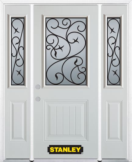 66-inch x 82-inch Borders 1/2-Lite 1-Panel White Steel Entry Door with Sidelites and Brickmould