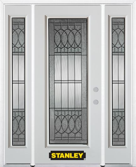 68-inch x 82-inch Nightingale Full Lite White Steel Entry Door with Sidelites and Brickmould