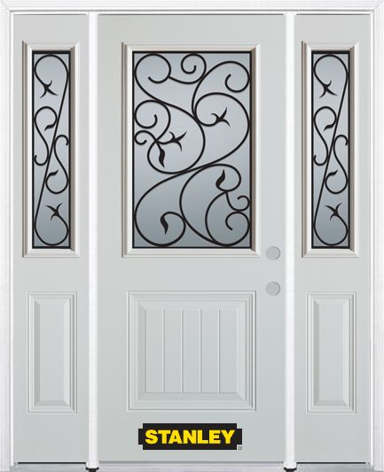 68-inch x 82-inch Borders 1/2-Lite 1-Panel White Steel Entry Door with Sidelites and Brickmould