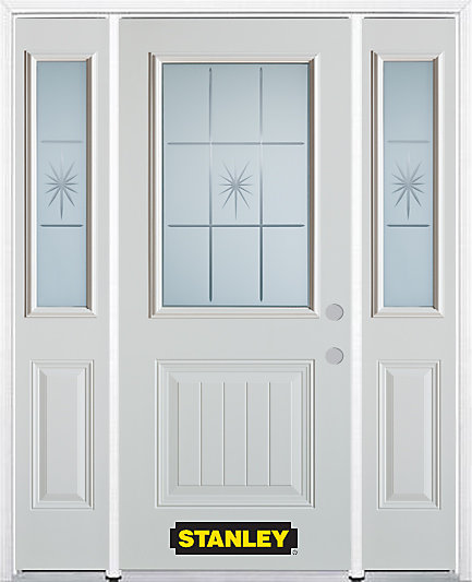 68.5 inch x 82.375 inch Beaujolais 1/2 Lite 1-Panel Prefinished White Left-Hand Inswing Steel Prehung Front Door with Sidelites and Brickmould