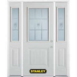 Stanley Doors 68.5 inch x 82.375 inch Beaujolais 1/2 Lite 1-Panel Prefinished White Left-Hand Inswing Steel Prehung Front Door with Sidelites and Brickmould