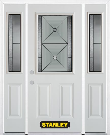 68-inch x 82-inch Bellochio 1/2-Lite 2-Panel White Steel Entry Door with Sidelites and Brickmould