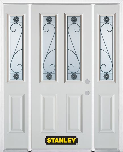 64-inch x 82-inch Blacksmith 2-Lite 2-Panel White Steel Entry Door with Sidelites and Brickmould