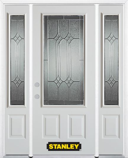 Stanley Doors 68.5 inch x 82.375 inch Orleans Patina 3/4 Lite 2-Panel Prefinished White Right-Hand Inswing Steel Prehung Front Door with Sidelites and Brickmould
