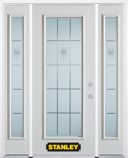 66-inch x 82-inch Beaujolais Full Lite Finished White Steel Entry Door with Sidelites and Brickmo...