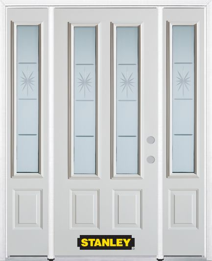 64-inch x 82-inch Beaujolais 2-Lite 2-Panel White Steel Entry Door with Sidelites and Brickmould