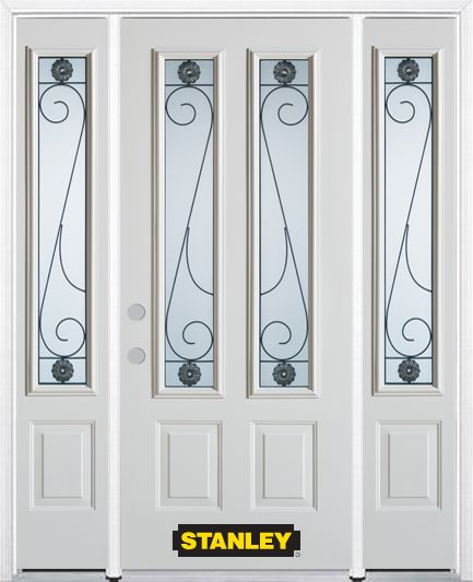 66-inch x 82-inch Blacksmith 2-Lite 2-Panel White Steel Entry Door with Sidelites and Brickmould