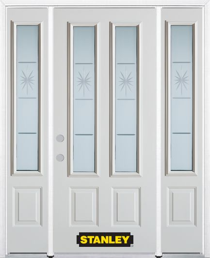 68-inch x 82-inch Beaujolais 2-Lite 2-Panel White Steel Entry Door with Sidelites and Brickmould