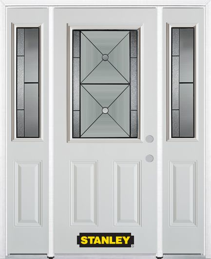 64-inch x 82-inch Bellochio 1/2-Lite 2-Panel White Steel Entry Door with Sidelites and Brickmould