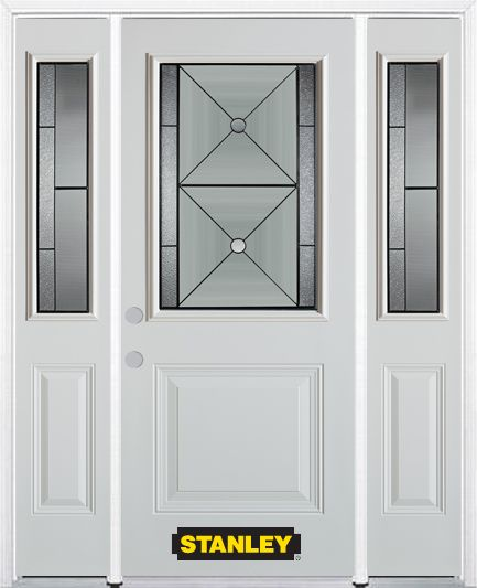 68-inch x 82-inch Bellochio 1/2-Lite 1-Panel White Steel Entry Door with Sidelites and Brickmould