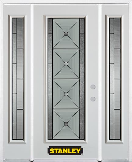 68-inch x 82-inch Bellochio Full Lite Finished White Steel Entry Door with Sidelites and Brickmou...