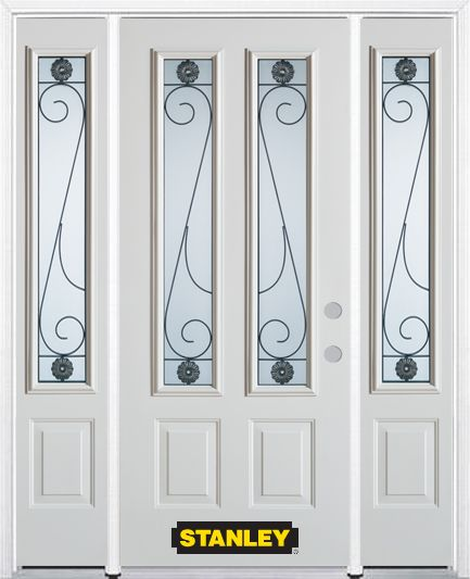 68-inch x 82-inch Blacksmith 2-Lite 2-Panel White Steel Entry Door with Sidelites and Brickmould