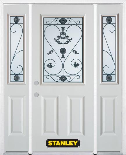 Porte dentrée en acier préfini en blanc, munie de deux panneaux et dun 1/2 verre, 68 po x 82 po a...