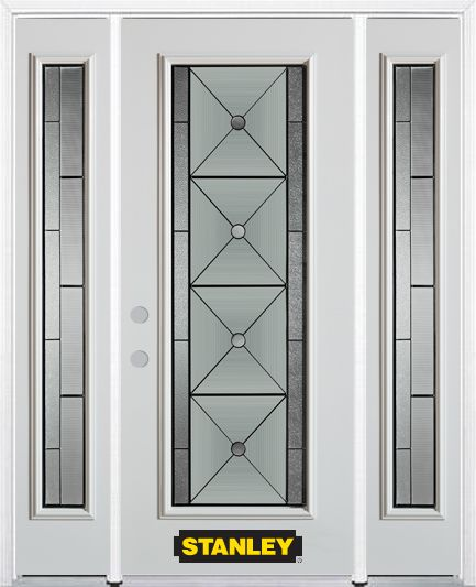 64-inch x 82-inch Bellochio Full Lite Finished White Steel Entry Door with Sidelites and Brickmou...