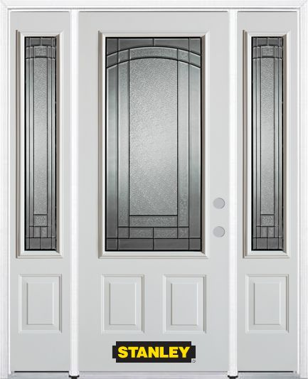 66-inch x 82-inch Chatham 3/4-Lite 2-Panel White Steel Entry Door with Sidelites and Brickmould