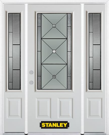 64-inch x 82-inch Bellochio 3/4-Lite 2-Panel White Steel Entry Door with Sidelites and Brickmould