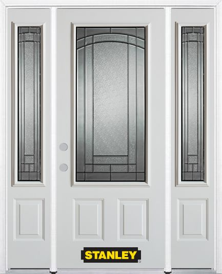 64-inch x 82-inch Chatham 3/4-Lite 2-Panel White Steel Entry Door with Sidelites and Brickmould