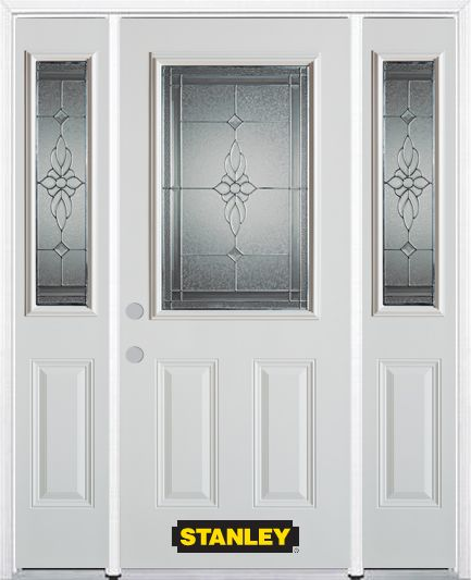 68-inch x 82-inch Victoria 1/2-Lite 2-Panel White Steel Entry Door with Sidelites and Brickmould
