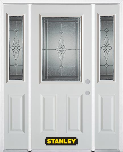 64-inch x 82-inch Victoria 1/2-Lite 2-Panel White Steel Entry Door with Sidelites and Brickmould