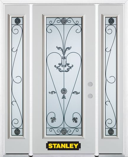 68-inch x 82-inch Blacksmith Full Lite Finished White Steel Entry Door with Sidelites and Brickmo...