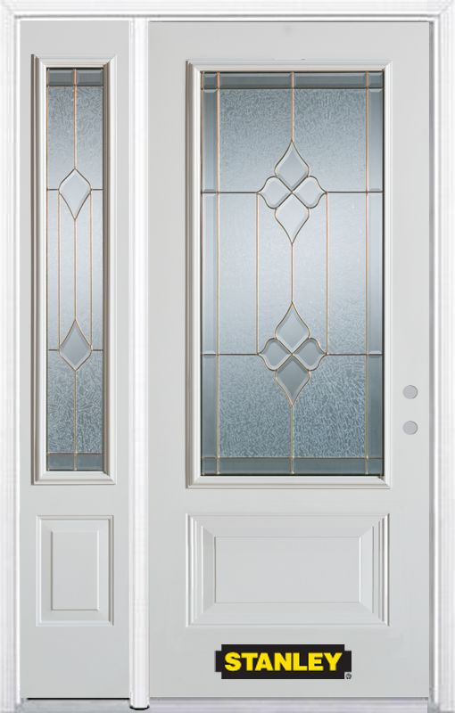 Stanley Doors 50.25 inch x 82.375 inch Beatrice Brass 3/4 Lite 1-Panel Prefinished White Left-Hand Inswing Steel Prehung Front Door with Sidelite and Brickmould