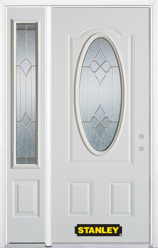 Stanley Doors 48.25 inch x 82.375 inch Beatrice Brass 3/4 Oval Lite 2-Panel Prefinished White Left-Hand Inswing Steel Prehung Front Door with Sidelite and Brickmould