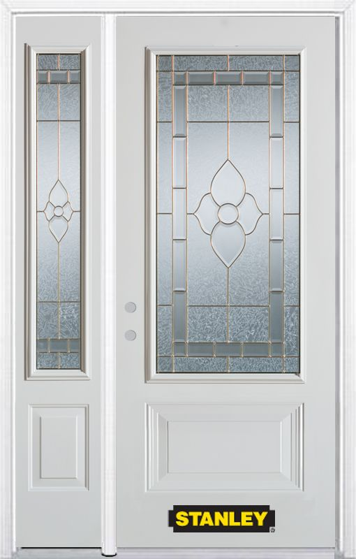 Stanley Doors 52.75 inch x 82.375 inch Marguerite Brass 3/4 Lite 1-Panel Prefinished White Right-Hand Inswing Steel Prehung Front Door with Sidelite and Brickmould