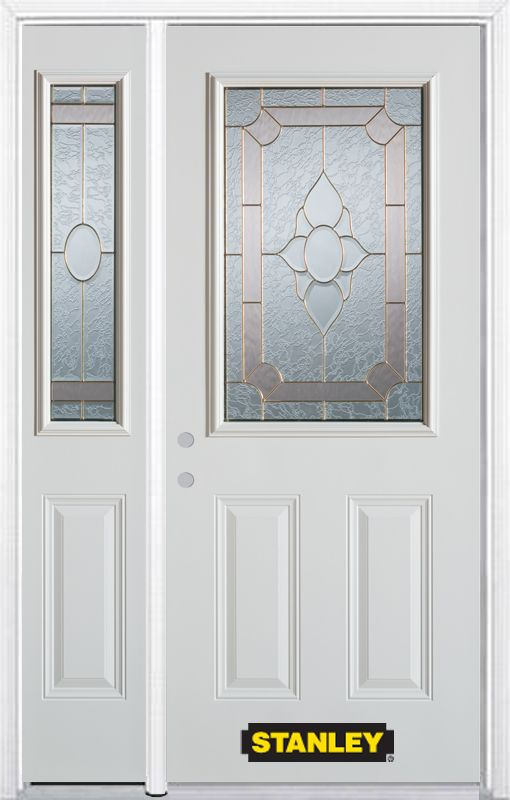48-inch x 82-inch Rochelle 1/2-Lite 2-Panel White Steel Entry Door with Sidelite and Brickmould