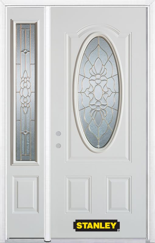 48-inch x 82-inch Victoria Oval 3/4-Lite White Steel Entry Door with Sidelite and Brickmould