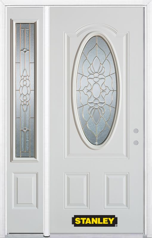 50-inch x 82-inch Victoria Oval 3/4-Lite White Steel Entry Door with Sidelite and Brickmould