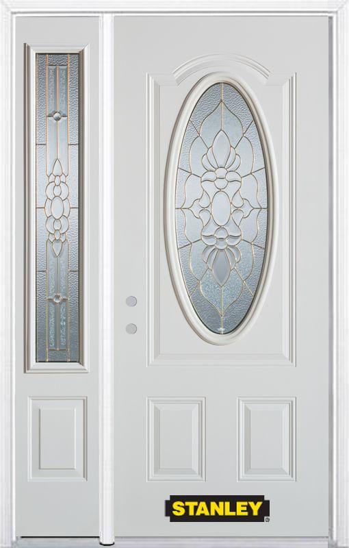 Porte dentrée en acier préfini en blanc, munie dun 3/4 verre ovale, 53 po x 82 po avec panneaux l...