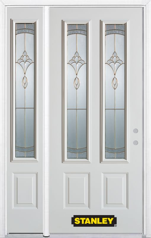 52-inch x 82-inch Karina 2-Lite 2-Panel White Steel Entry Door with Sidelite and Brickmould