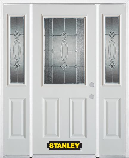 Stanley Doors 68.5 inch x 82.375 inch Diamanti Zinc 1/2 Lite 2-Panel Prefinished White Left-Hand Inswing Steel Prehung Front Door with Sidelites and Brickmould - ENERGY STAR®