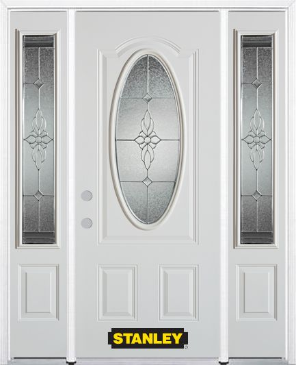66-inch x 82-inch Victoria Oval 3/4-Lite White Steel Entry Door with Sidelites and Brickmould