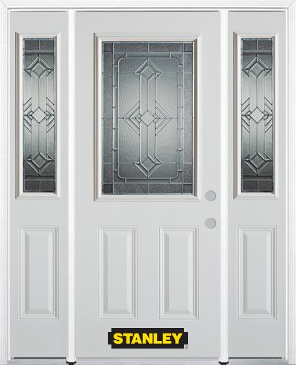 64-inch x 82-inch Neo-Deco 1/2-Lite 2-Panel White Steel Entry Door with Sidelites and Brickmould