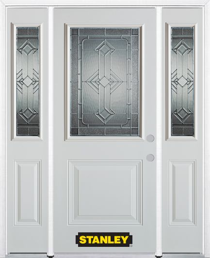 68-inch x 82-inch Neo-Deco 1/2-Lite 1-Panel White Steel Entry Door with Sidelites and Brickmould