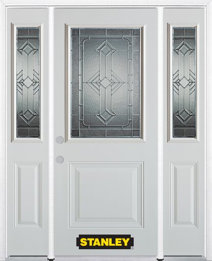 Stanley Doors 66.5 inch x 82.375 inch Neo Deco Zinc 1/2 Lite 1-Panel Prefinished White Right-Hand Inswing Steel Prehung Front Door with Sidelites and Brickmould