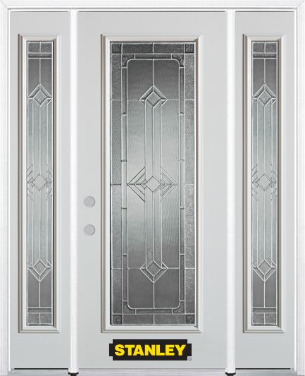 66-inch x 82-inch Neo-Deco Full Lite Finished White Steel Entry Door with Sidelites and Brickmoul...