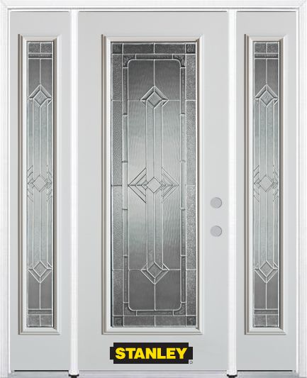64-inch x 82-inch Neo-Deco Full Lite Finished White Steel Entry Door with Sidelites and Brickmoul...