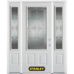 Stanley Doors 68.5 inch x 82.375 inch Neo Deco Zinc 3/4 Lite 2-Panel Prefinished White Left-Hand Inswing Steel Prehung Front Door with Sidelites and Brickmould - ENERGY STAR®