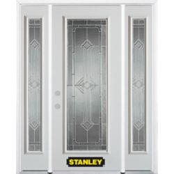 Stanley Doors 64.5 inch x 82.375 inch Neo Deco Zinc Full Lite Prefinished White Right-Hand Inswing Steel Prehung Front Door with Sidelites and Brickmould - ENERGY STAR®