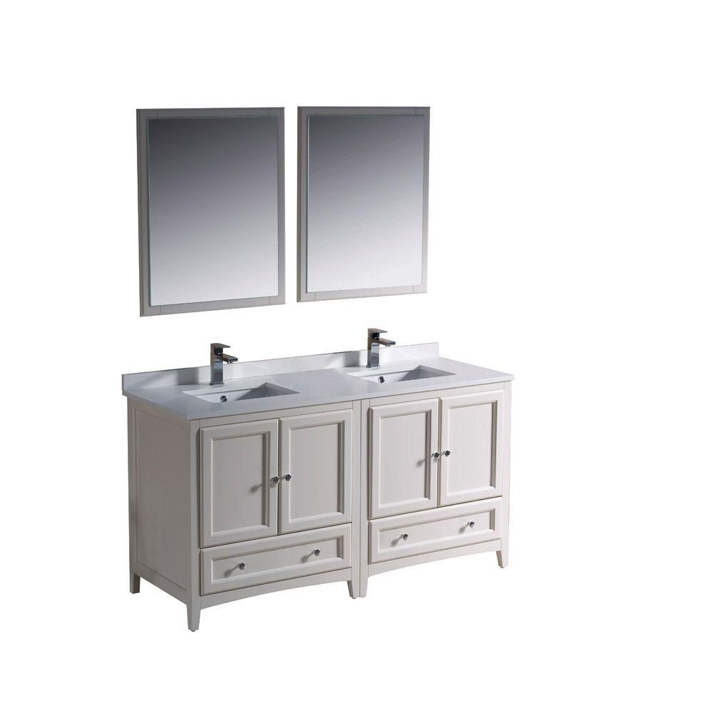 Oxford 60-inch W Double Sink Vanity in Antique White Finish with Mirror