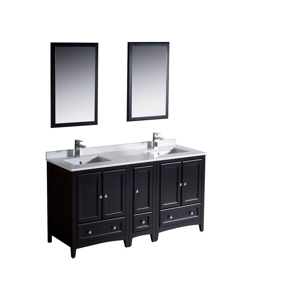 Fresca Oxford 60 Inch W Double Sink Vanity In Espresso Finish With Mirror T