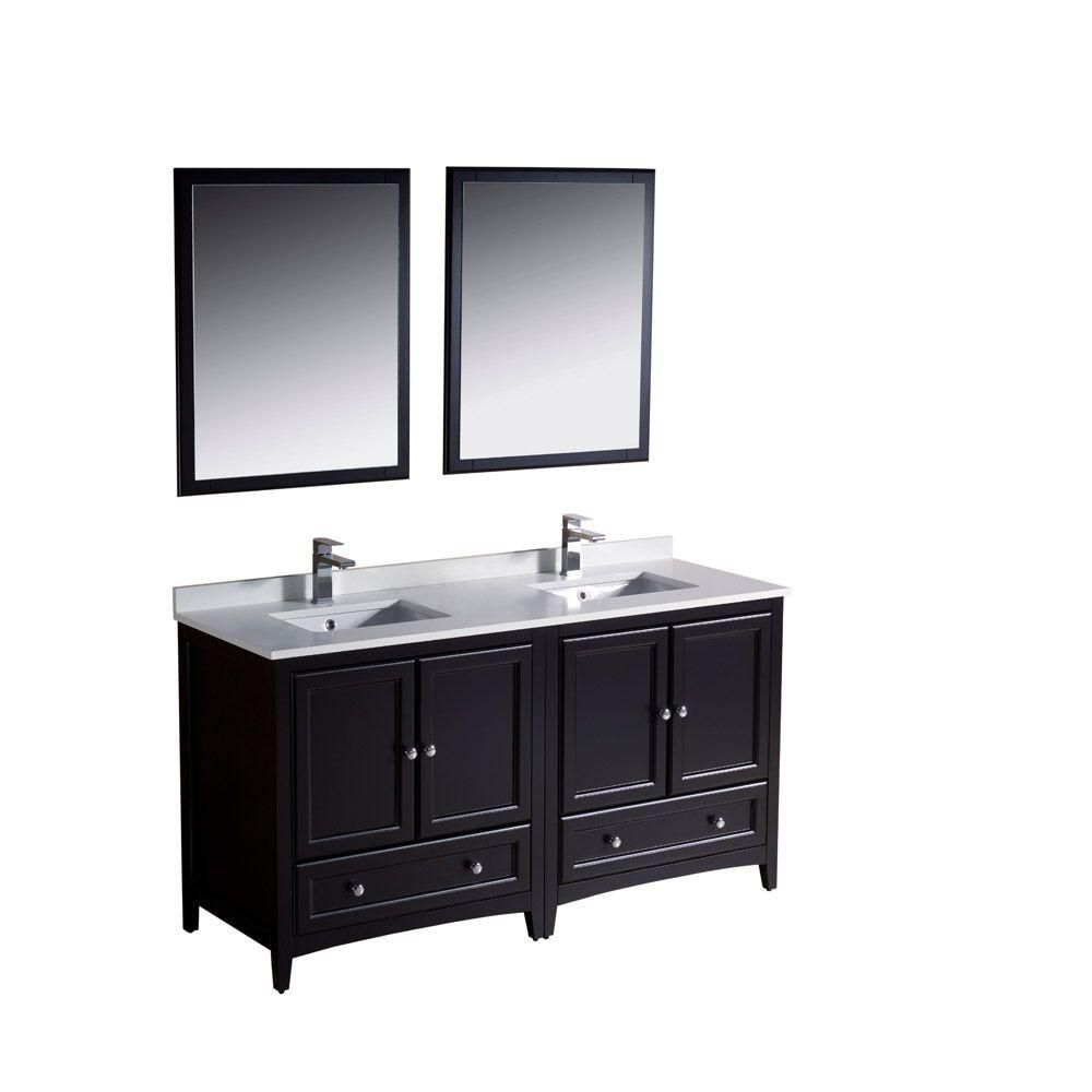 Oxford 60-inch W Double Sink Vanity in Espresso Finish with Mirror