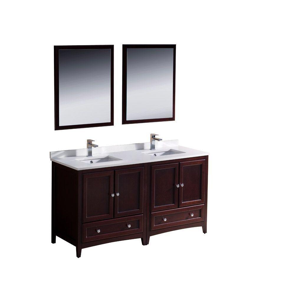 Meuble-lavabo traditionnel acajou à double lavabo 60po (152,4 cm) Oxford
