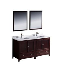 Fresca Oxford 60-inch W 2-Drawer 4-Door Vanity in Red With Quartz Top in White, Double Basins