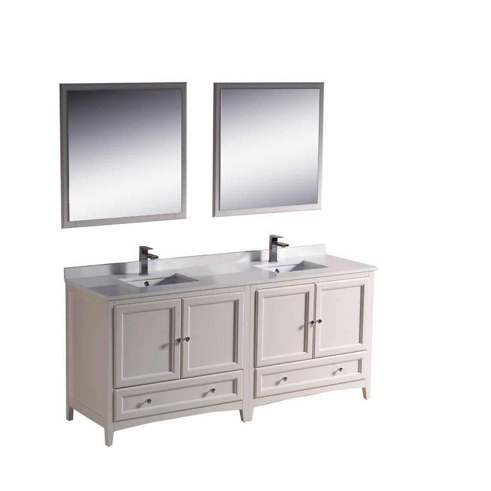 Fresca Oxford 72 Inch W Double Sink Vanity In Antique White Finish With Mirror The Home Depot