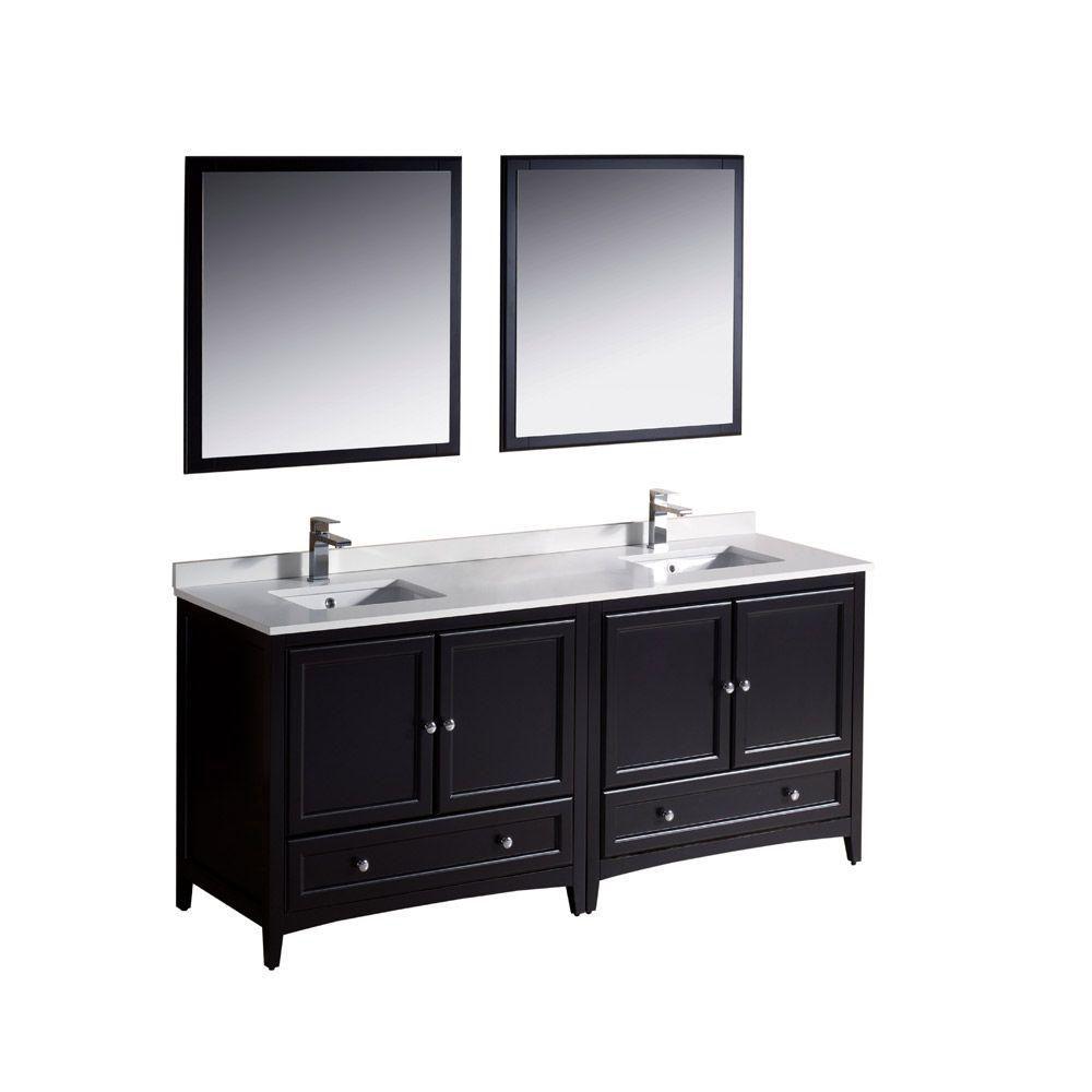 Meuble-lavabo traditionnel expresso à double lavabo 72po (182,3 cm) Oxford