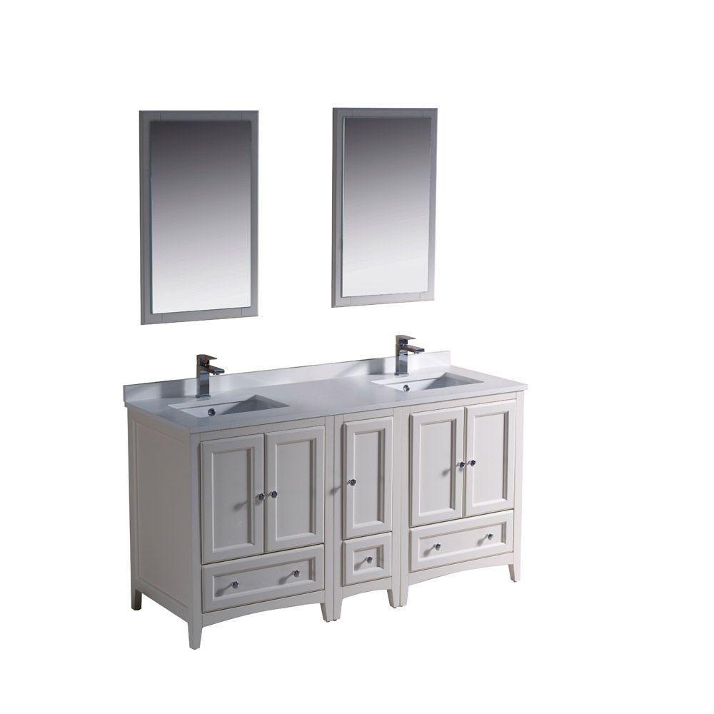 Meuble-lavabo traditionnel blanc antique à double lavabo 60po (152,4 cm) Oxford avec armoire lat...